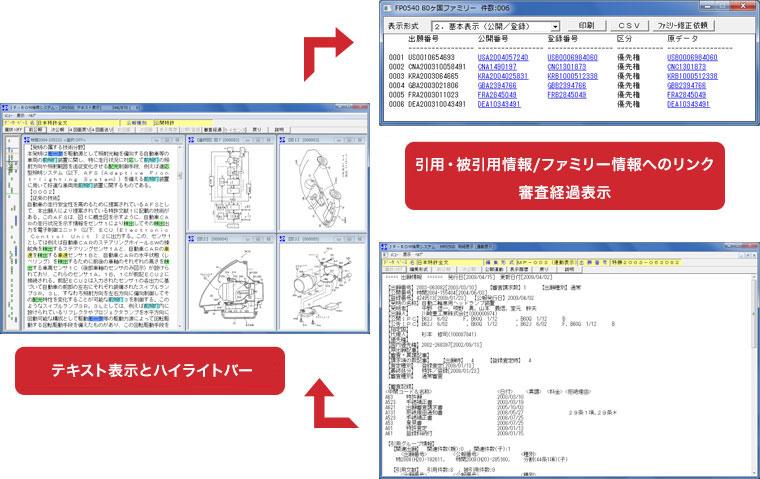 テキスト表示とハイライトバー 引用・被引用情報/ファミリー情報へのリンク審査経過表示